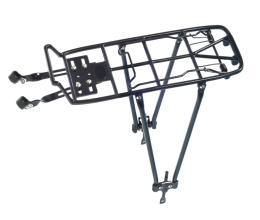 """Багажник YUENI регулируемый 24-28"""" алюминиевый с клипсой, стойки сталь, черный"""