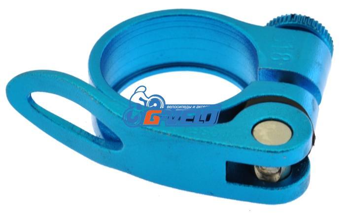 Эксцентрик подседельный с хомутом  ø 31.8 mm (Материал:алюм.;Цвет:blue) AS-17+SQ-133