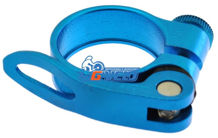 Эксцентрик подседельный с хомутом  ø 34.9 mm (Материал:алюм.;Цвет:blue) AS-17+SQ-133