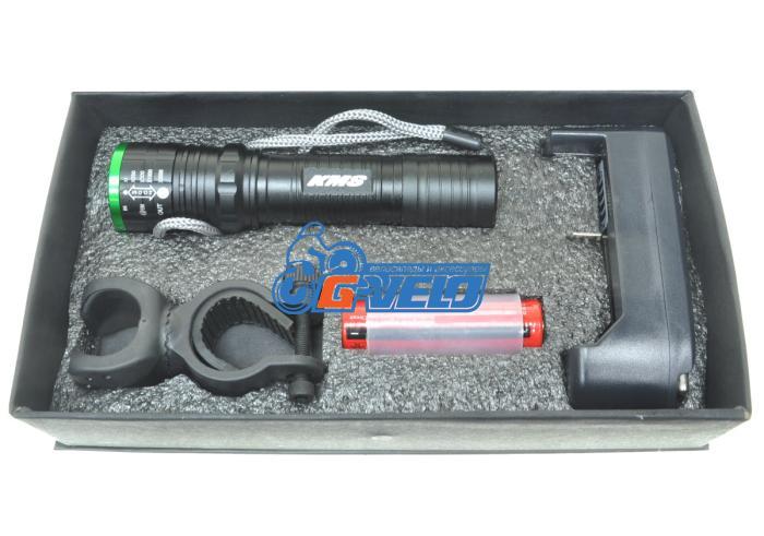 Фара передняя KMS, 10Вт, алюминиевая, с регулировкой фокуса + зарядка + аккумулятор 18650