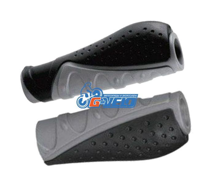 Грипсы TRIX, резиновые, 130 мм, 2-х компон., торцевые заглушки, эргоном., черно-серые, HL-G301-1