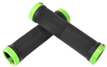Vinca Sport, Грипсы с метал. зажимами, длина 129мм, черные, зажим зеленый H-G119 black/light green
