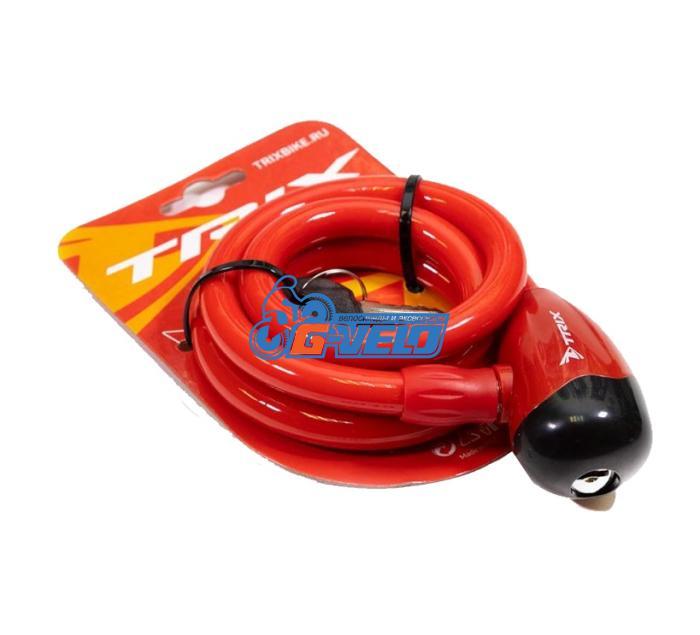 Велозамок TRIX (Размер:Ø12×1500 мм) стальной трос в пластик. оболочке+ ключи B1, GK102.314 красный