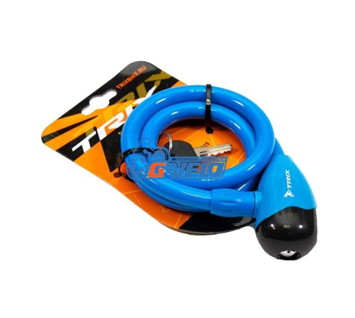 Велозамок TRIX (Размер:Ø12×800 мм) стальной трос в пластик. оболочке+ ключи B1, GK101.315 голубой