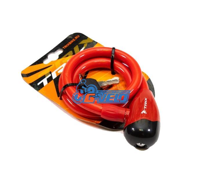 Велозамок TRIX (Размер:Ø12×800 мм) стальной трос в пластик. оболочке+ ключи B1, GK101.315 красный