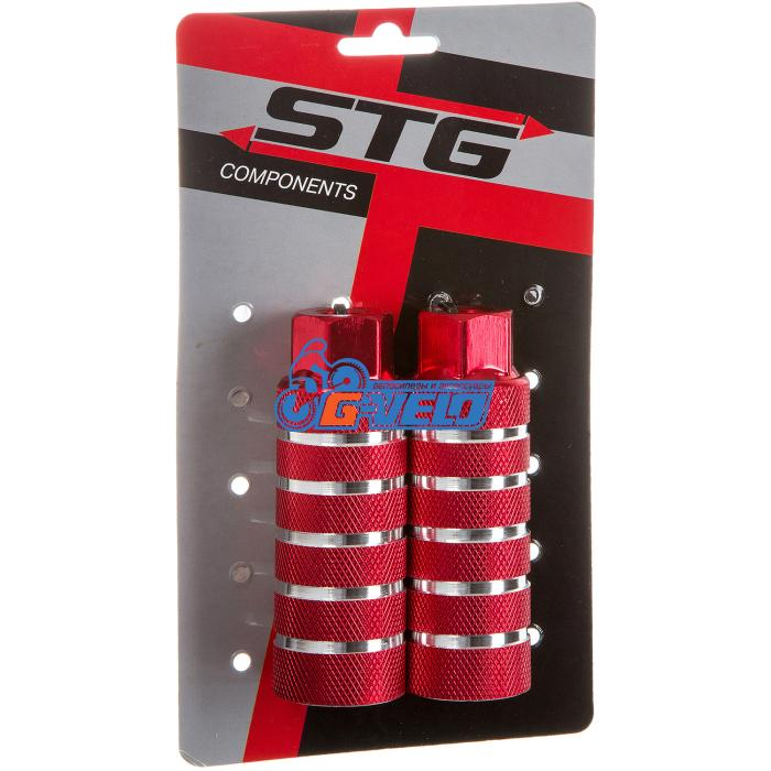 Пеги STG PG05, алюм., 38×100 3/8×26T, ось 14 мм, Красные