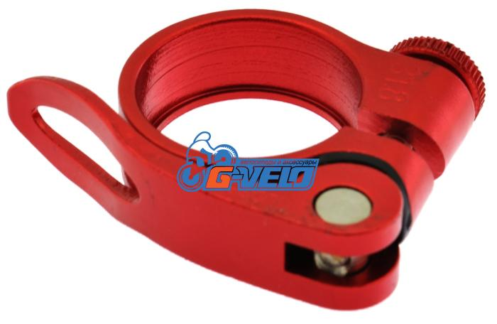 Эксцентрик подседельный с хомутом  ø 31.8 mm (Материал:алюм.;Цвет:red) AS-17+SQ-133