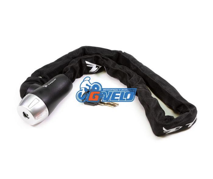 Велозамок-цепь TRIX (Размер:Ø6×900 мм) в тканевой оплетке+ ключи B2, черный, GK105.501 цепь