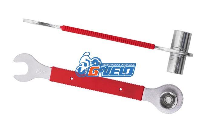 Ключ педальный на 15 мм + торцевые головки 14/15 мм, KENLI, KL-9725H