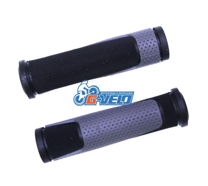 Грипсы TRIX, резиновые, 125 мм, 2-х компон., торцевые заглушки, черно-серые, HL-G305 black/grey