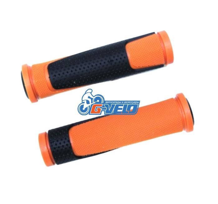 Грипсы TRIX, резиновые, 125 мм, 2-х компон., торцевые заглушки, черно-оранжевые, HL-G305 orange