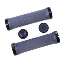 Грипсы TRIX, резиновые, 130 мм, 2 черных фикс., торцевые заглушки, серые, HL-G201 gray/bk