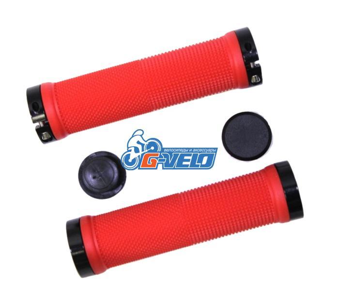 Грипсы TRIX, резиновые, 130 мм, 2 черных фикс., торцевые заглушки, красные, HL-G201 red/bk