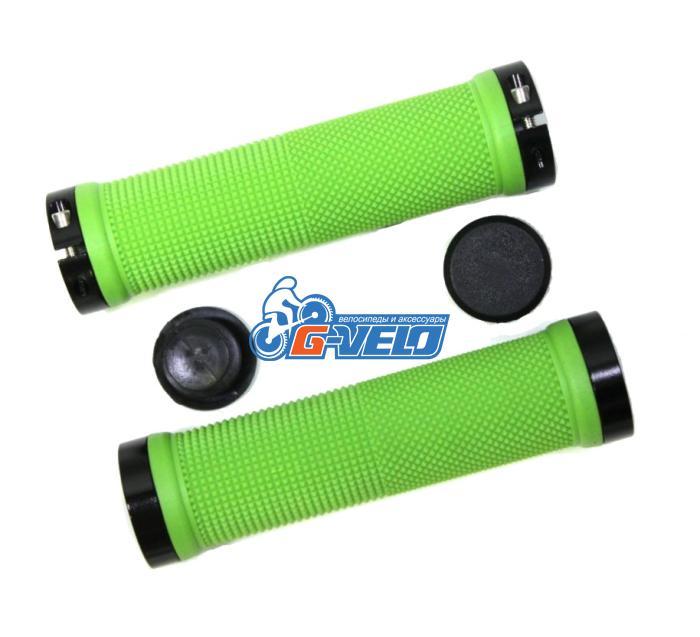 Грипсы TRIX, резиновые, 130 мм, 2 черных фикс., торцевые заглушки, зеленые, HL-G201 green/bk