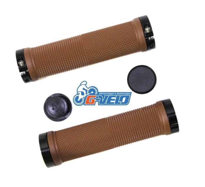 Грипсы TRIX, резиновые, 130 мм, 2 черных фикс., торцевые заглушки, коричневые, HL-G201 brown/bk