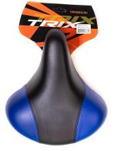Седло TRIX комфортное с пужинами 245x210 мм, с замком, черно-синее, AZ-0801A blue