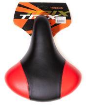 Седло TRIX комфортное с пужинами 245x210 мм, с замком, черно-серое, AZ-0801A red