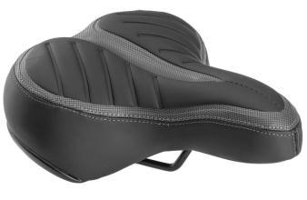 Седло TRIX, AZ-5555 G-02, 250x210 мм, комфорт, с замком, пружинное, черно-серое