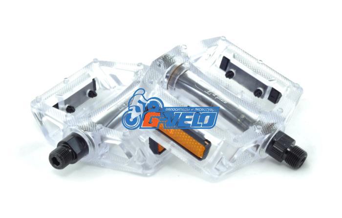 """Педали Z-Plus Z-0911, Jelly, пластик прозрачный, CrMo ось 9/16"""", 90x95x28mm, 127g"""