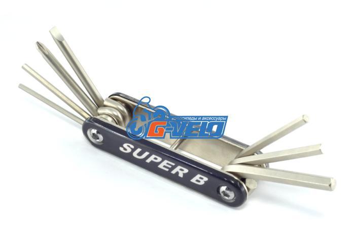 Складной набор инструмента 7 в 1 шестигранники 2.5/3/4/5/6мм & отвертка, SuperB 9600