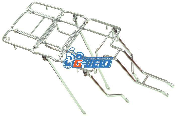Багажник YUENI стальной, мото, с дополнительными дугами, хром