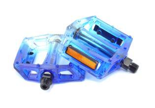 """Педали Z-Plus Z-0911, Fade, пластик прозрачный/синий, CrMo ось 9/16"""", 90x95x28mm, 127g"""