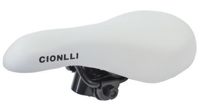 Седло Cionlli 9196, белое, стальные рейлы