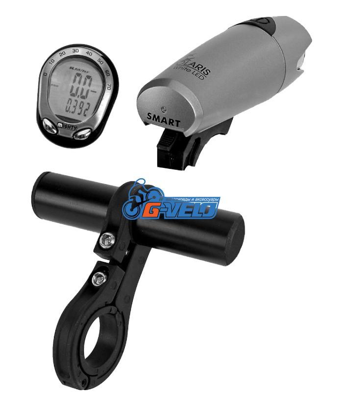 Держатель фары / велокомпьютера на руль при отсутствии свободного места, диам. 22.2-28.6 мм