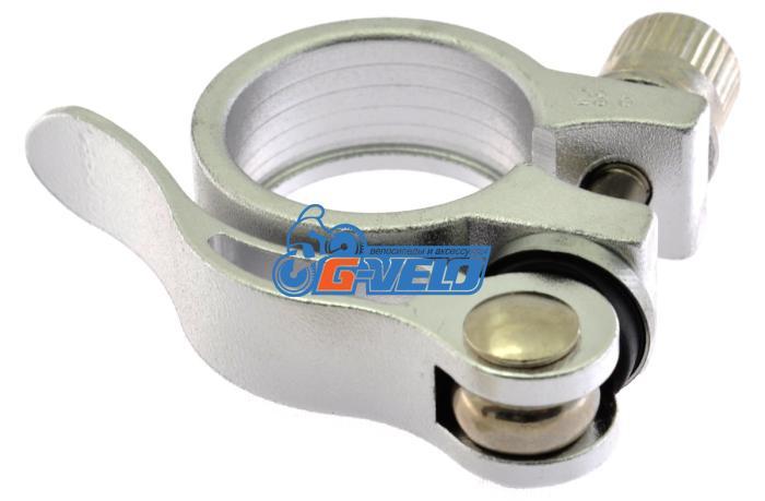 Эксцентрик подседельный с хомутом  ø 28.6 mm (Материал:алюм.;Цвет:silver) AS-01+SQ-128