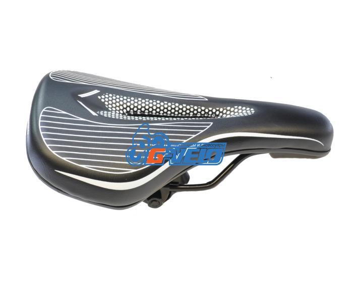 Седло HONGFEI, 250x140 мм, черное/белое, HF-AZ-6096-04