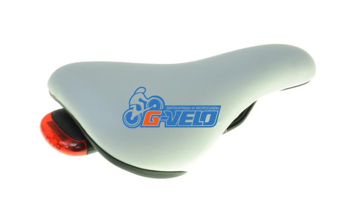 Седло VELO VL-5087, Comfort белое, 130*245 мм, с фонарем