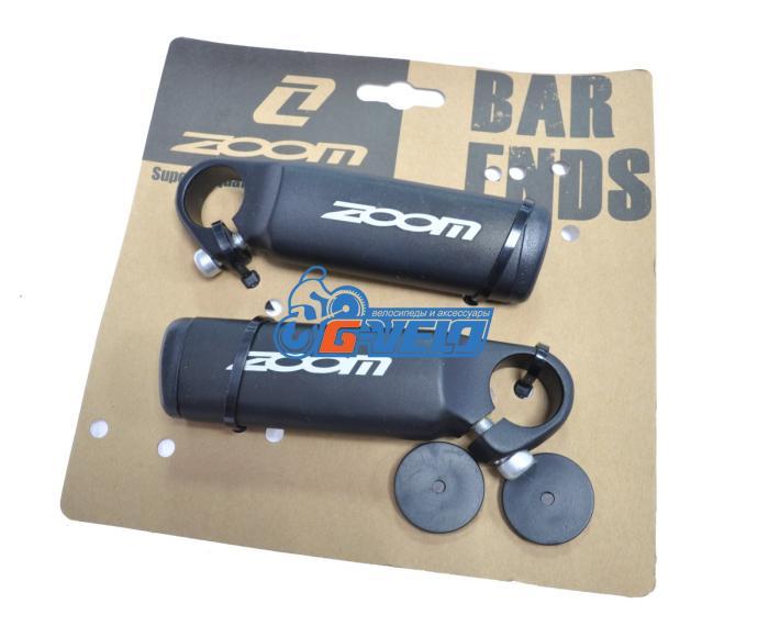 Рога на руль алюминиевые ZOOM, черные 32AS, 105 мм
