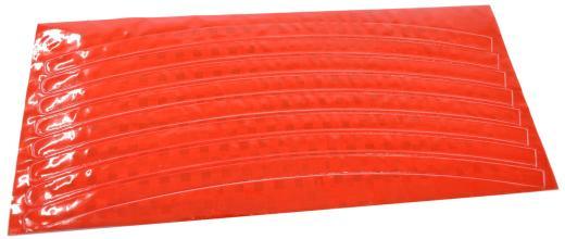 Набор светоотражающих накладок Vinca Sport, на обод велосипеда, цвет красный, 8 шт. STA 114 red