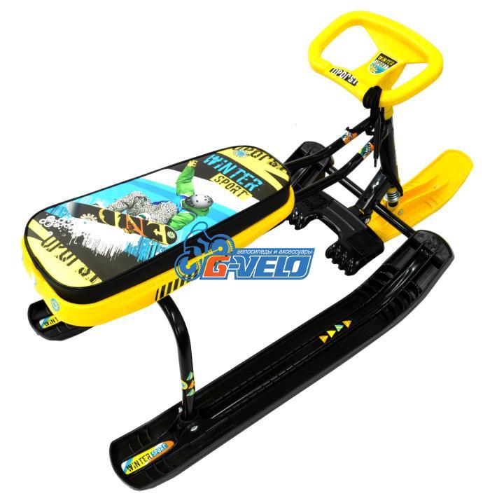 """Снегокат Тимка Спорт-1 +100 высокий, """"WINTER SPORT"""" желтый/черный ТС1"""