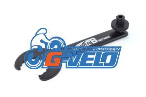 Ключ для каретки Hollowtech & GXP + ключ для гайки левого шатуна, SuperB 8916