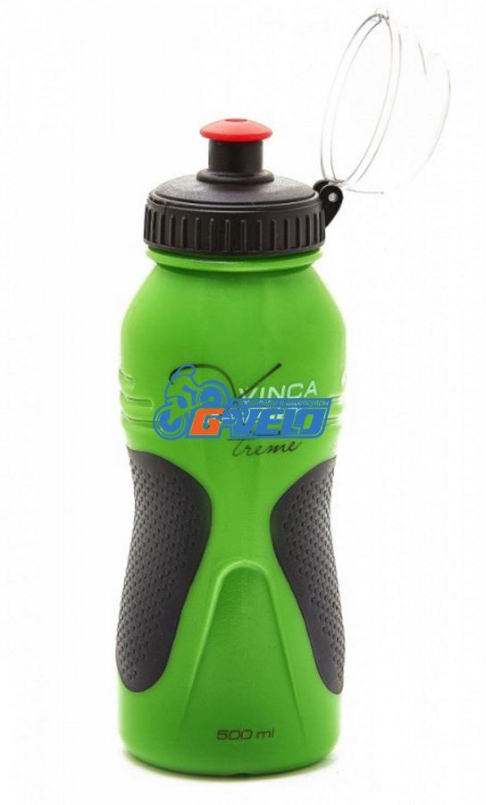 Фляга велосипедная Vinca Sport, с защитой от пыли 600 мл, зеленая, VSB 39 green