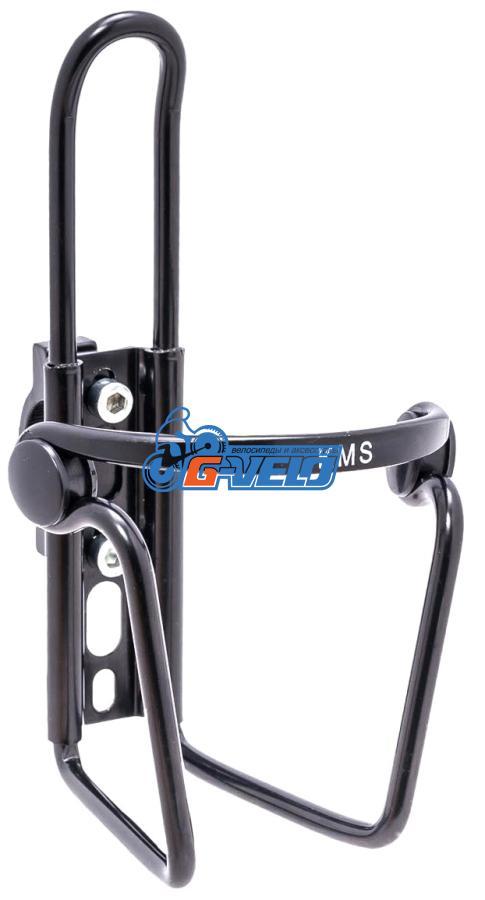 Флягодержатель KMS алюминиевый с крепежем на руль, черный
