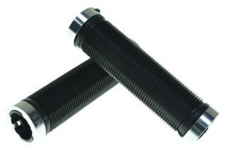 Грипсы KMS черные с 2 серебристыми грипстопами, 130 мм