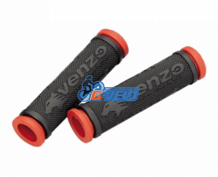 Грипсы резиновые VENZO черный/красный VZ20-E05-003