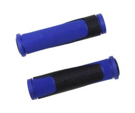 Грипсы TRIX, резиновые, 125 мм, 2-х компон., торцевые заглушки, черно-синие, HL-G305 black/blue