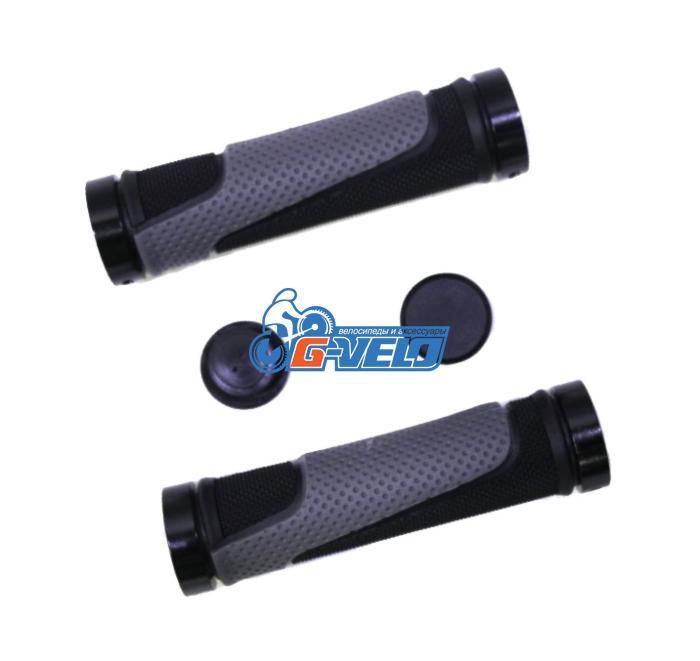 Грипсы TRIX, резиновые, 130 мм, 2-х компон., 2 черных фикс., торцевые заглушки, черно-серые, HL-G308