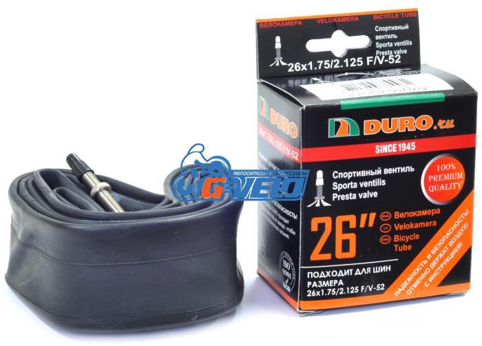 Камера 26 DURO 26*1,75/2,125 велониппель F/V 52мм, бутил