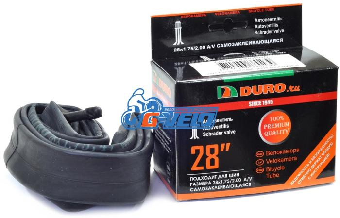 Камера 28 DURO 28*1,75 автониппель AV с герметиком, бутил