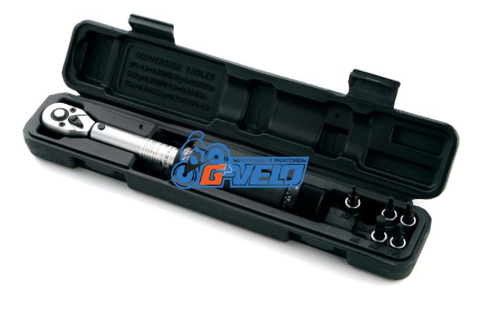 Динамометрический ключ 3-14 Nm с насадками шестигранников и торкс на блистере, SuperB 88800