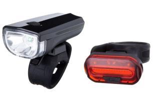 Комплект фонарей STG, задний+передний, резин. хомут, JY7024+6068T