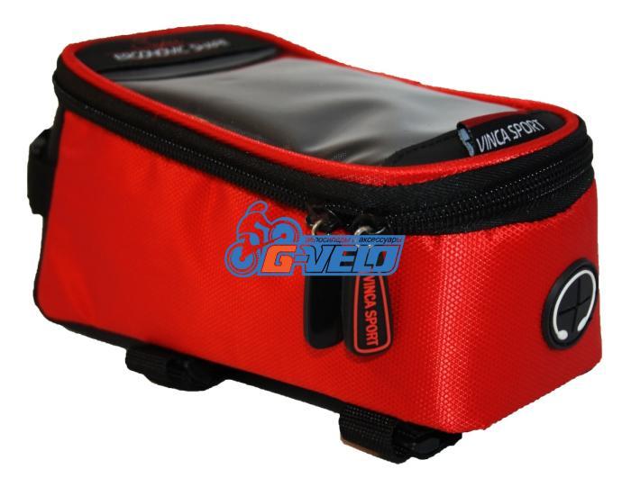 Vinca Sport, Сумка на раму, отд. телефона, отв. для науш. 190х90х95мм, красный кант, FB 07-2 M red