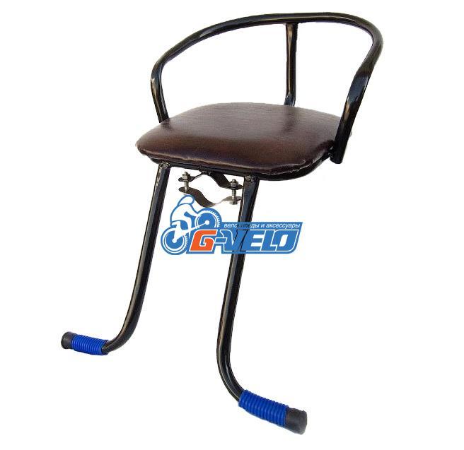 Кресло детское на раму, подножки, сталь, мягкое сиденье, черное