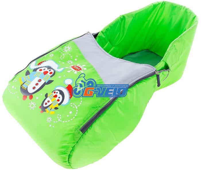 """Матрасик для санок с чехлом для ног """"Пингвин"""", зеленый, мод. СС3-1"""