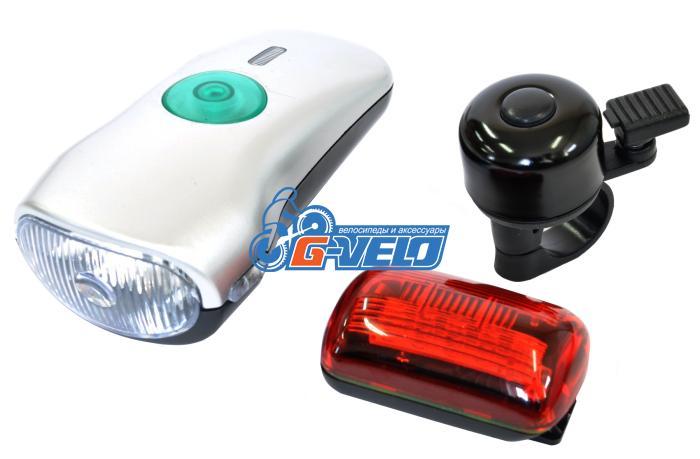 JING YI, Комплект фонарей, передний + задний + звонок, JY-822-3