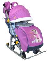 Санки-коляска Ника детям 7-2, складные, с 4-мя большими колесами, Собачка, фиолетовые